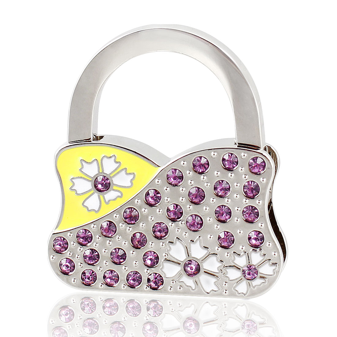 Flower Purple Rhinestones Decor Handbag Foldable Hook Hanger