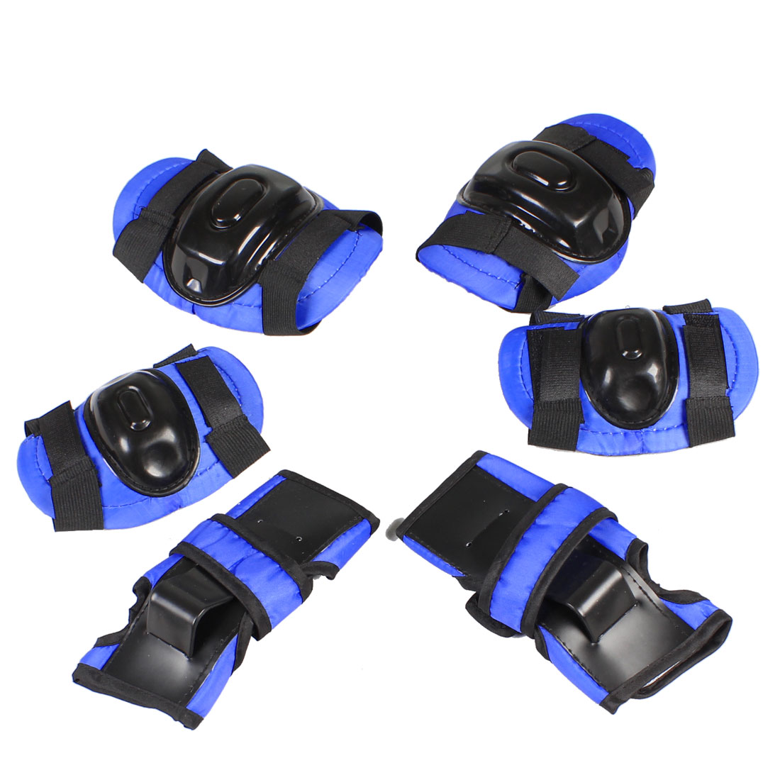 Children Skating Blue Black Palm Elbow Knee Support Protector Pad 6 in 1 Set