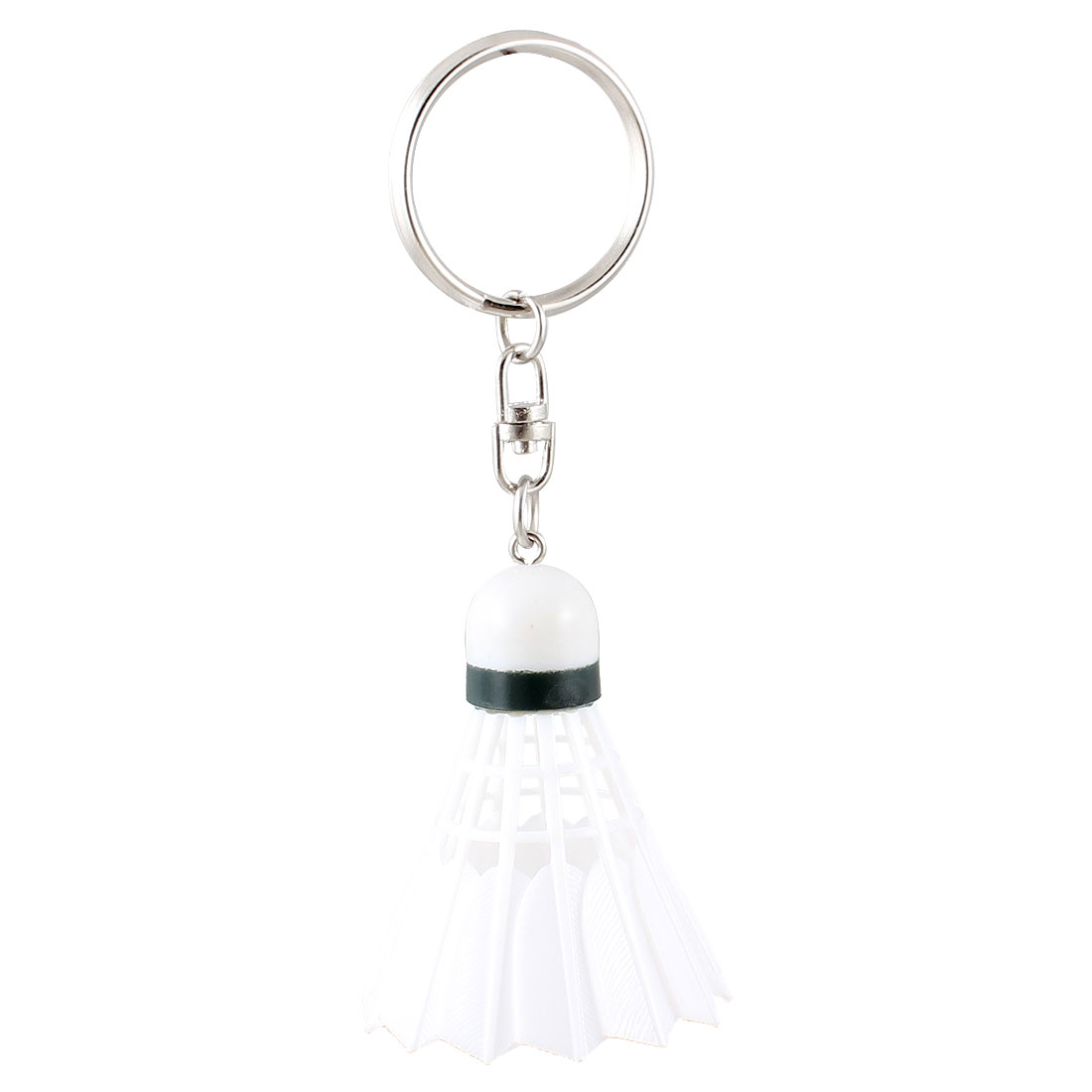 White Plastic Badminton Dangling Pendant Keychain Keyring Hanging Ornament