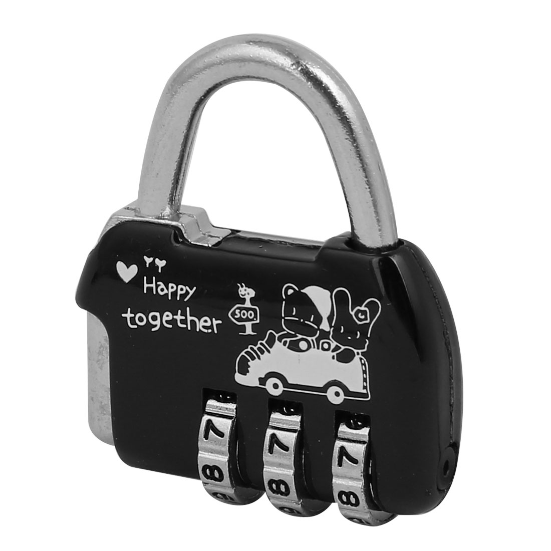 Black Silver Tone Metal Handbag Shaped 3 Digits Combination Password Padlock