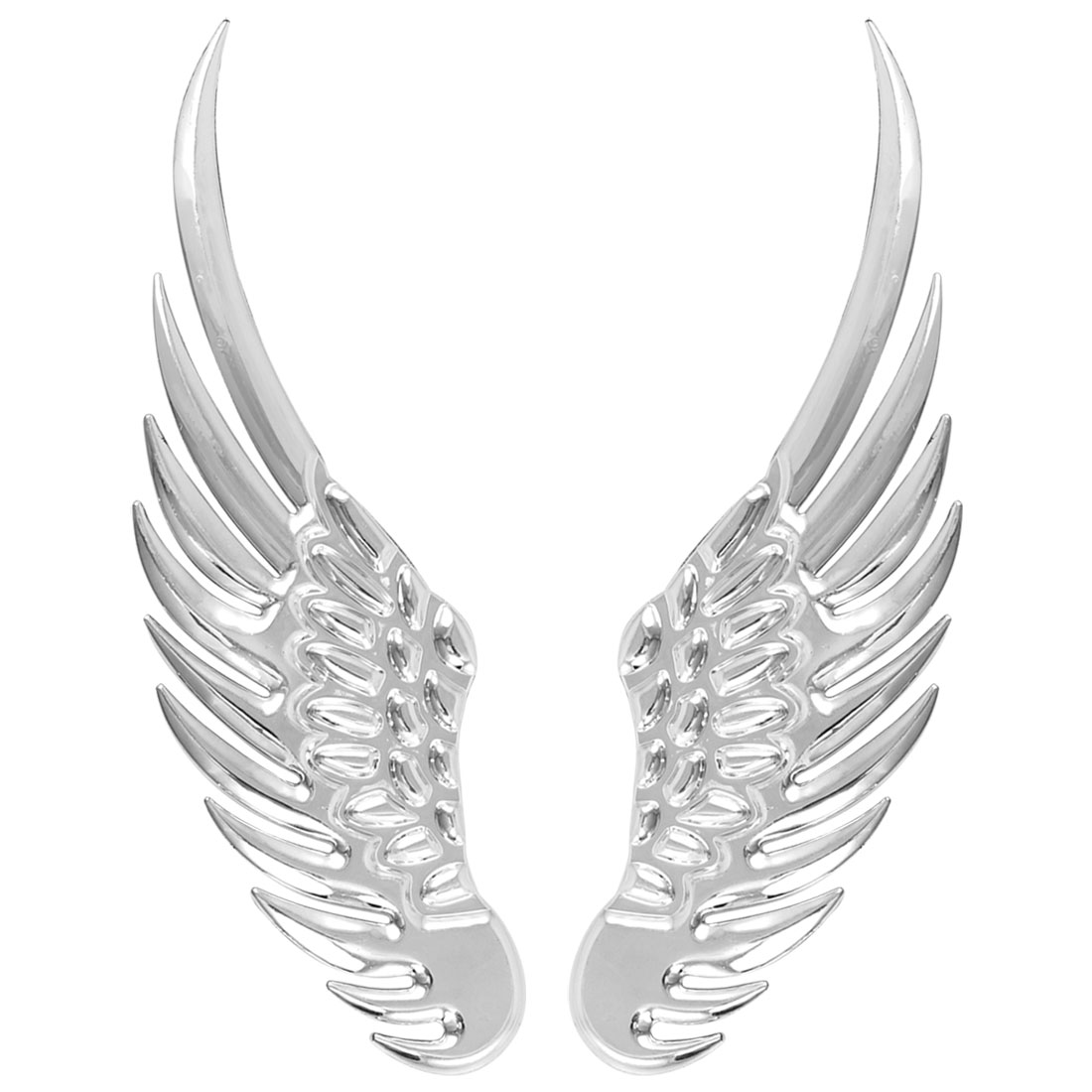 Auto Car Decor Silver Tone Plastic Wing Shaped Adhesive Sticker 2 Pcs