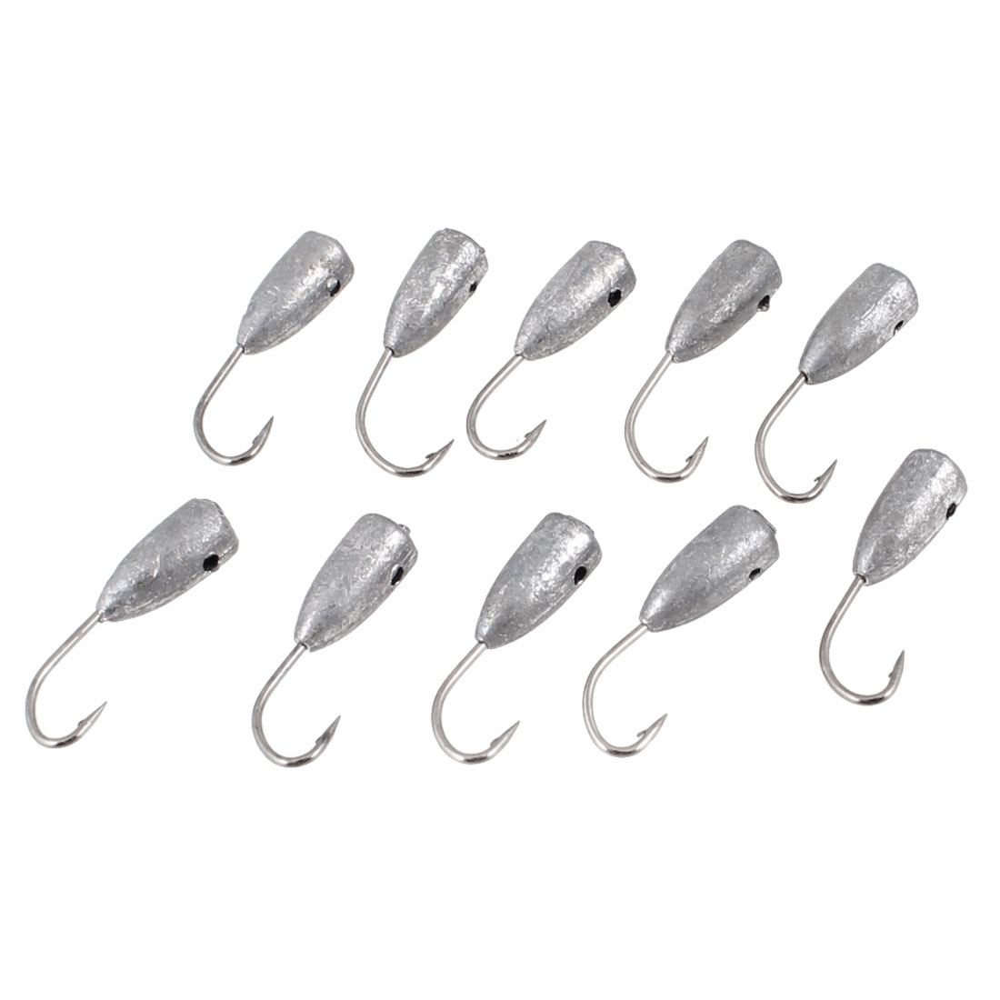 10 Pcs Gray Lead Head Silver Tone Metal Fishhooks Fishing Tackle 7#