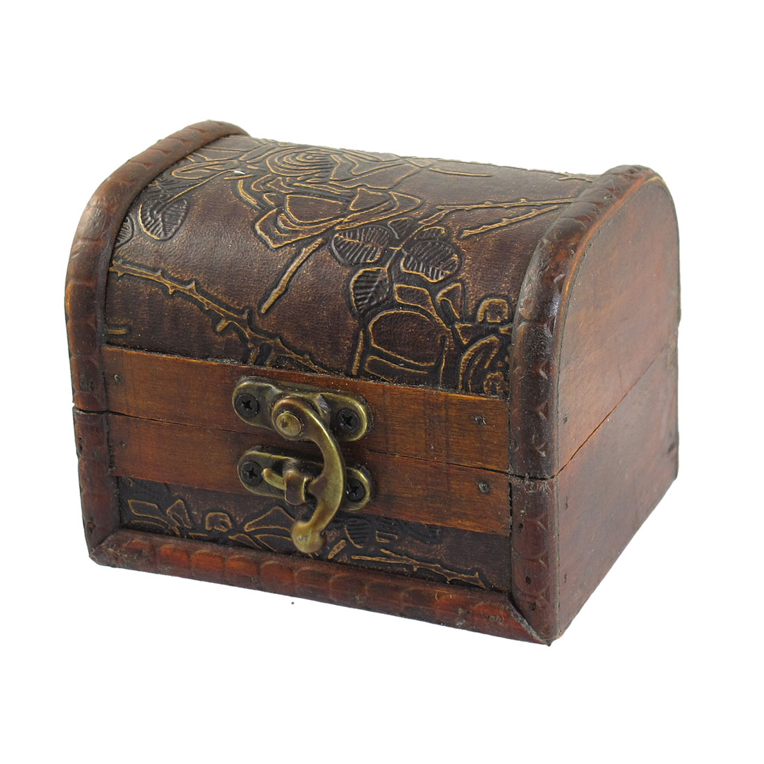 Floral Pattern Rectangle Wooden Metal Buckle Decor Jewelry Holder Case Box