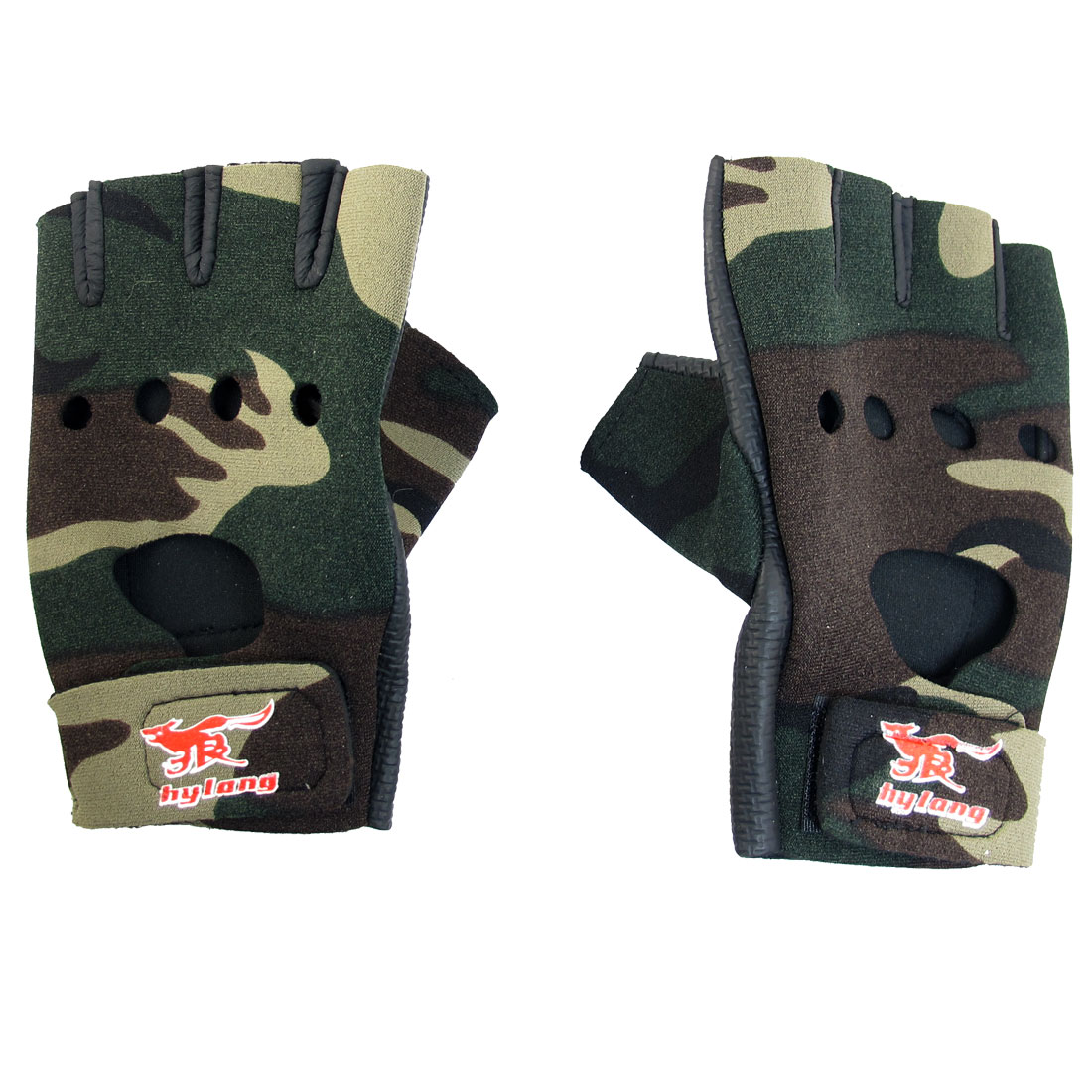 Unisex Camouflage Pattern Hook Loop Fastener Neoprene Driving Sport Gloves