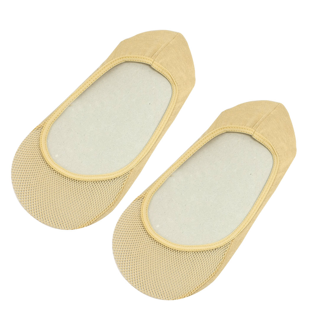 Woman Beige Soft Stretchy Heel Mesh Summer Footsie Boat Socks Pair