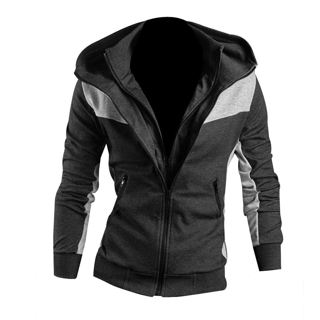 Mens Dark Gray Convertible Collar Double Zipper Hooded Coat M