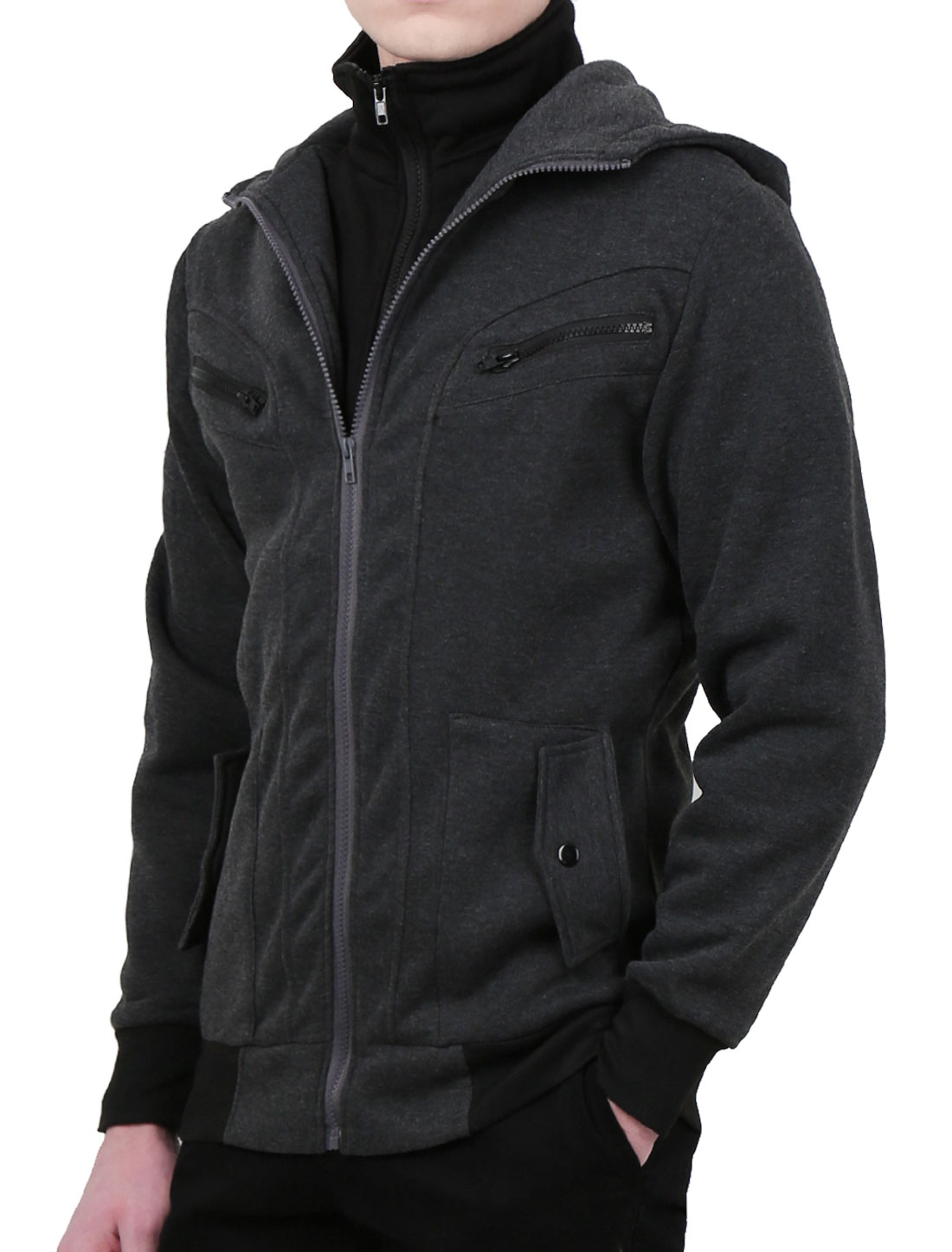 Mens Dark Gray Convertible Collar Autumn Lining Hooded Coat S