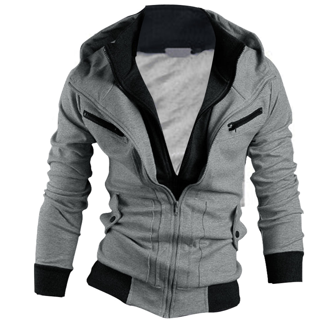 Mens Light Gray Double Zipper Casual Side Pockets Warm Hoodie S