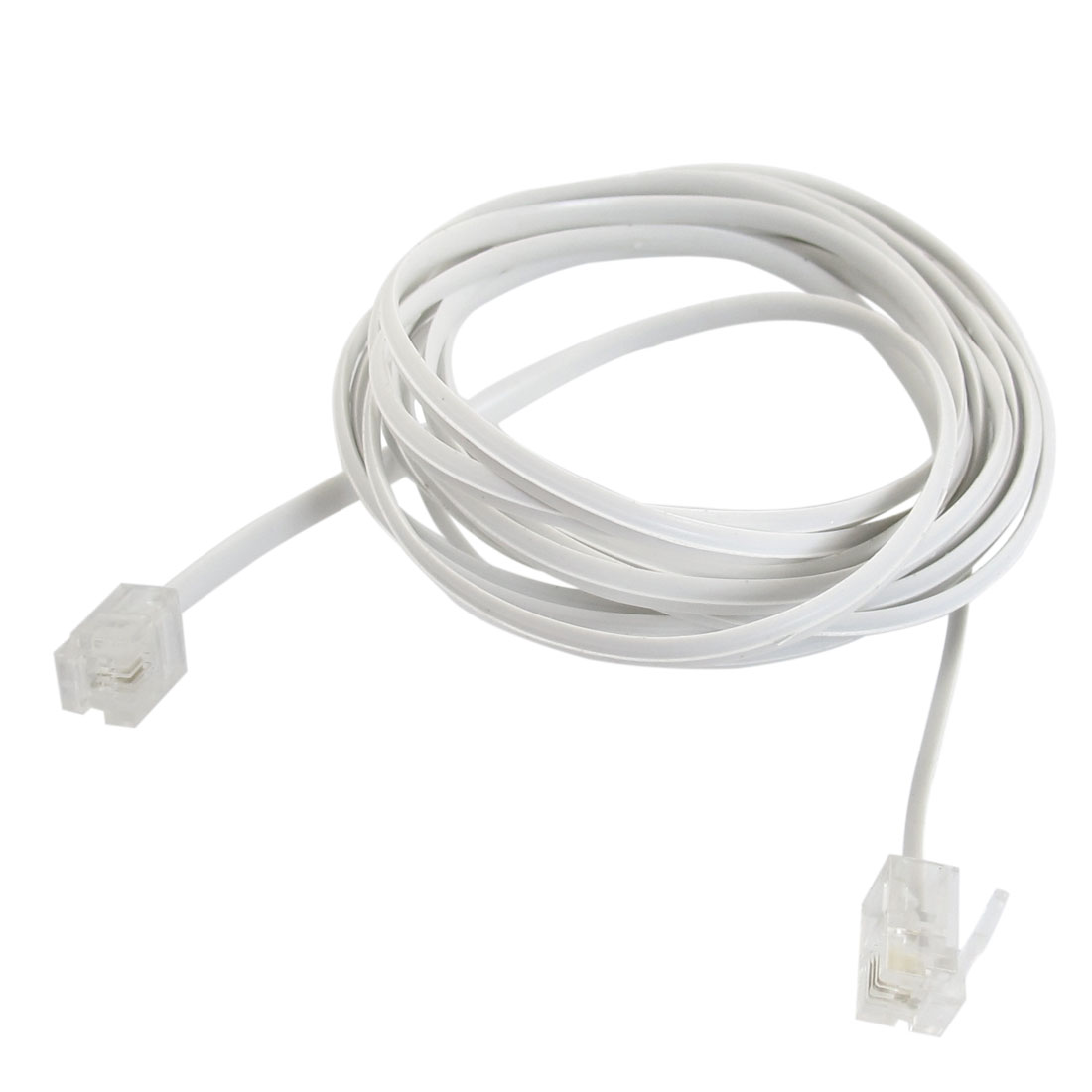 6P2C RJ11 to RJ11 Clear Module Telephone Extend Cord 3 Meters
