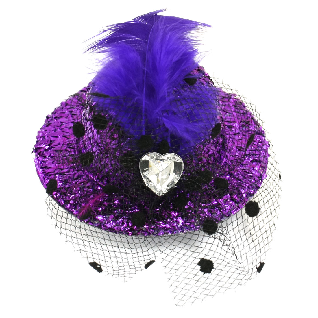 Ladies Party Feather Rhinestone Tinsel Cover Hat Design Alligator Hair Clip Purple