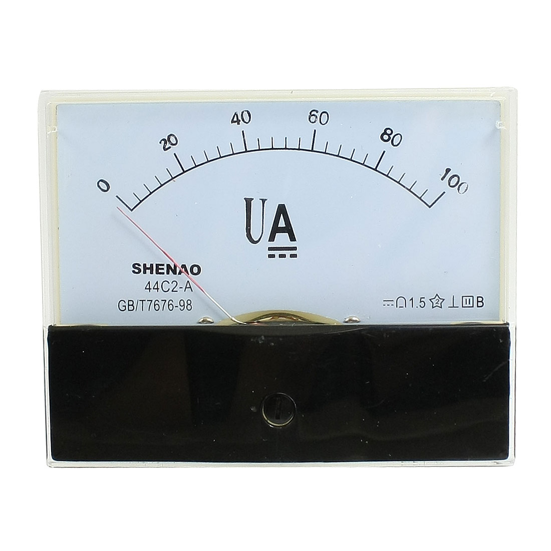 100mm x 80mm Rectangle DC 0-100uA Analog Ammeter Panel Meter 44C2-A