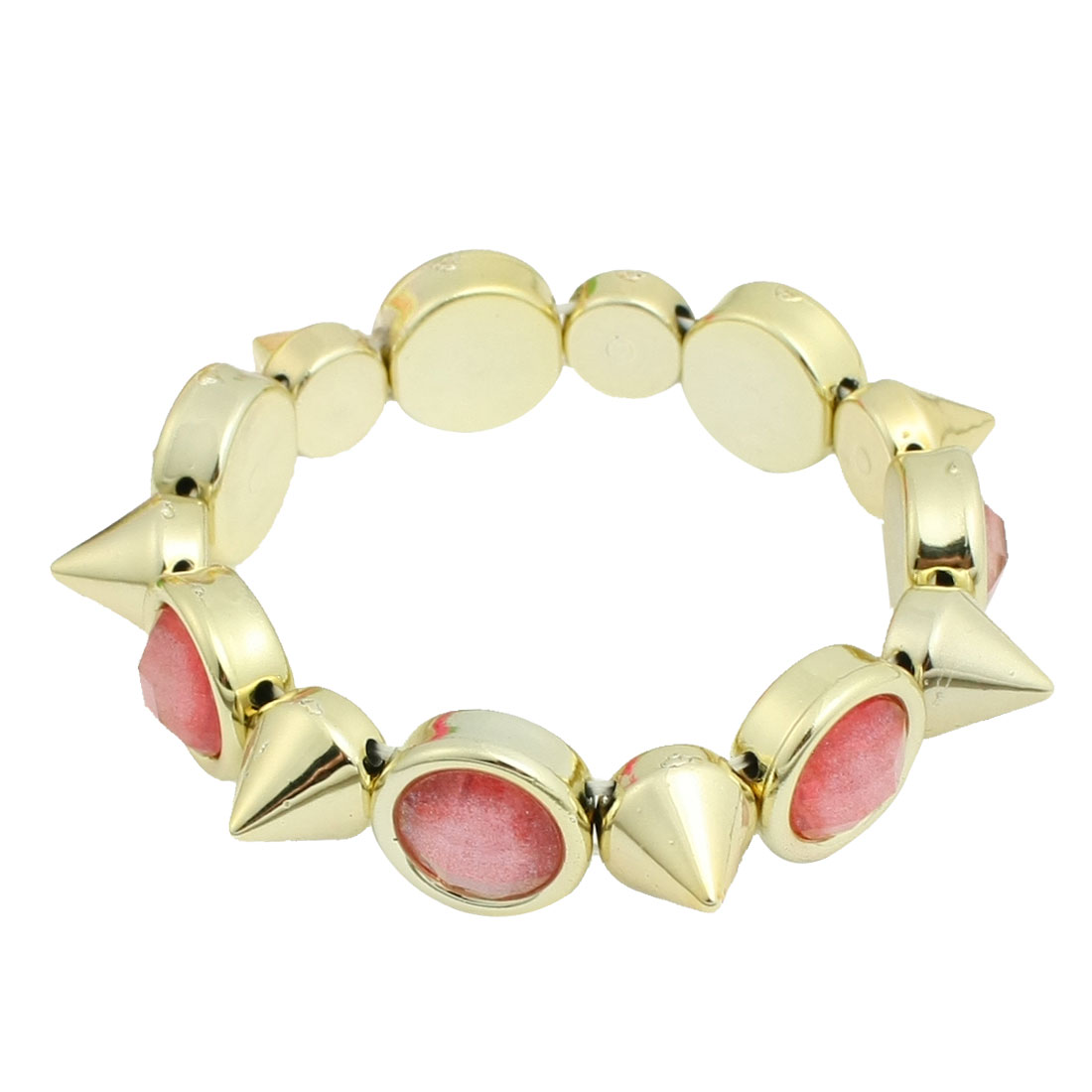 Girls Plastic Punk Rock Spike Cone Studs Beads Inlaid Stretch Bracelet Gold Tone Pink