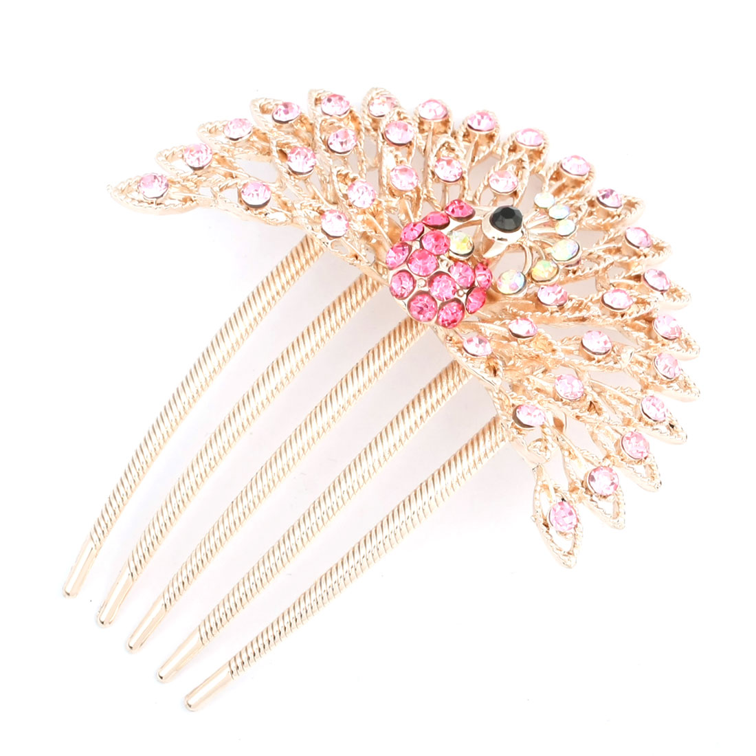 Gold Tone Metal Peacock Design Pink Shiny Rhinestone Hair Comb Clip for Lady