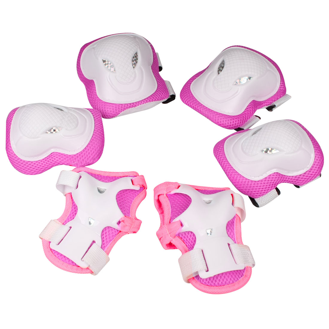 Fuchsia White Cow Head Design Palm Knee Elbow Pads Support Protector for Adult