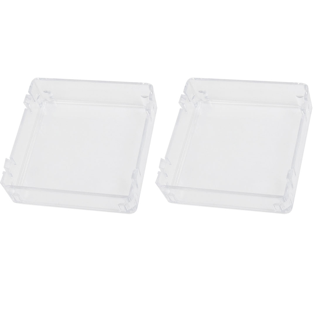 2 Pcs Square Plastic Waterproof Switch Cover Clear 50mmx50mm