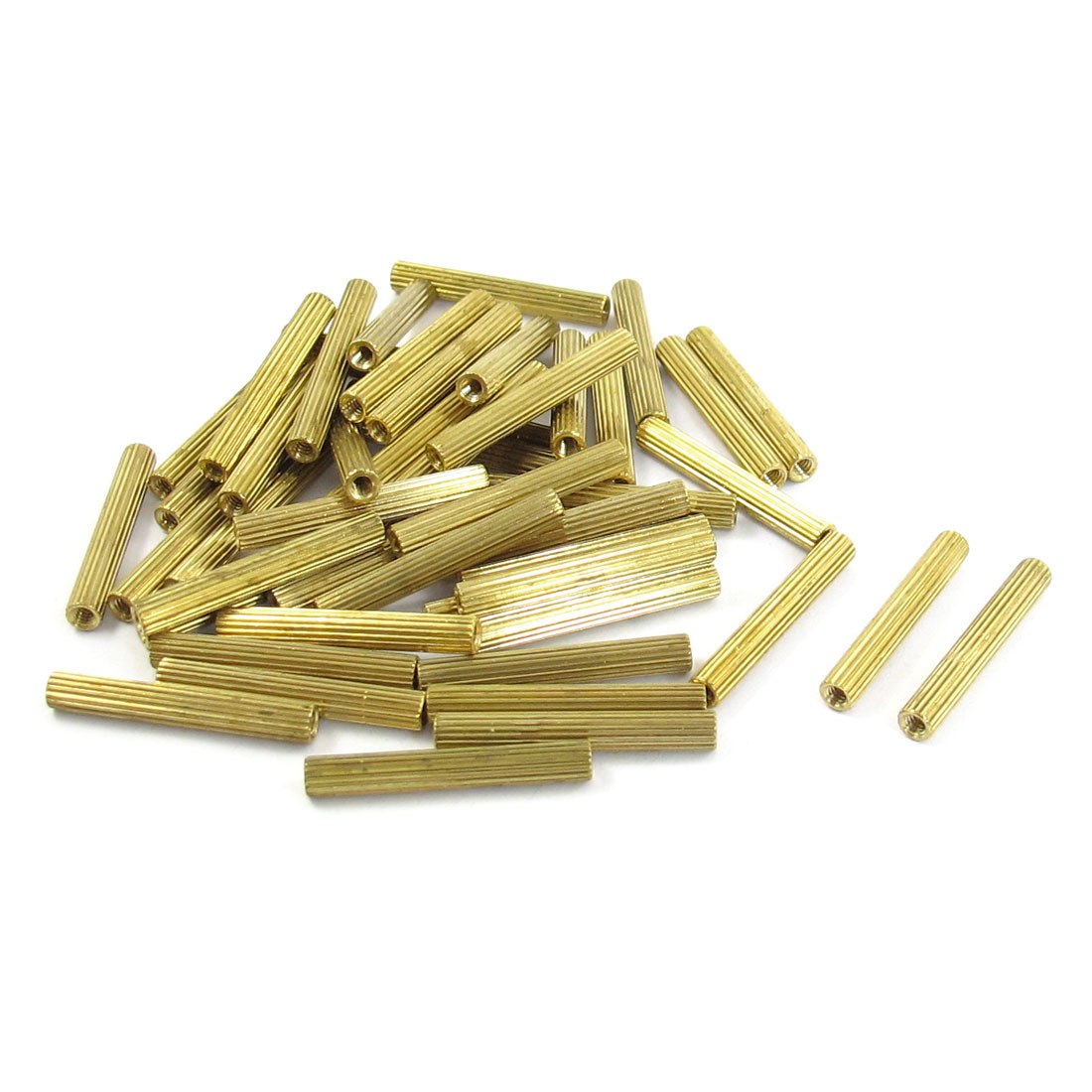 50 Pcs M2 Female Thread Cylindrical Brass Stand-off Support M2x22mm