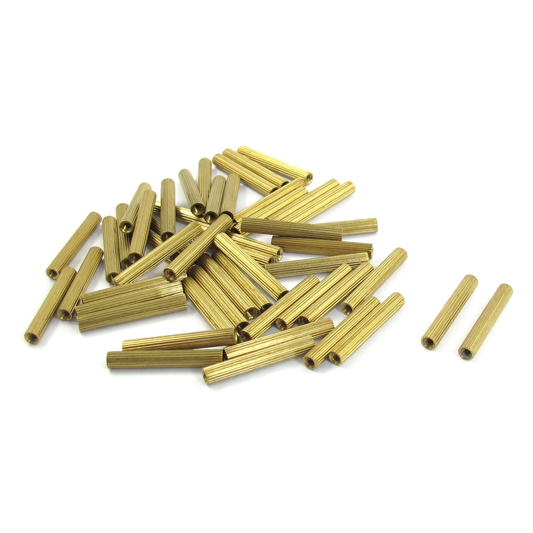 M2x21mm Cylinder Shaped Female Threaded Brass Standoff Spacer 50Pcs
