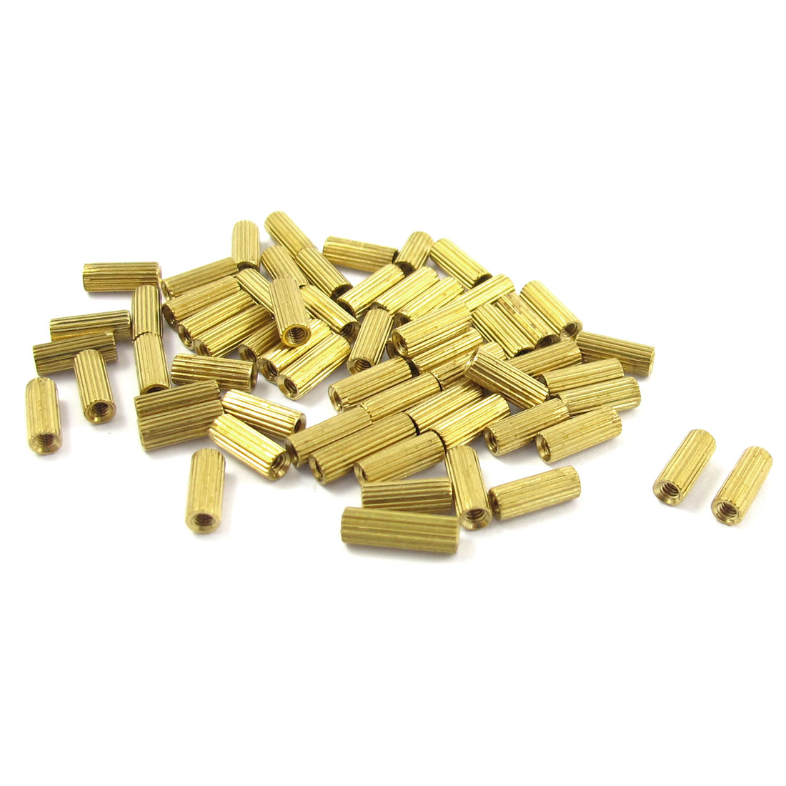 50 Pcs Female Threaded Pillars Brass Standoff Spacer Gold Tone M2x8mm