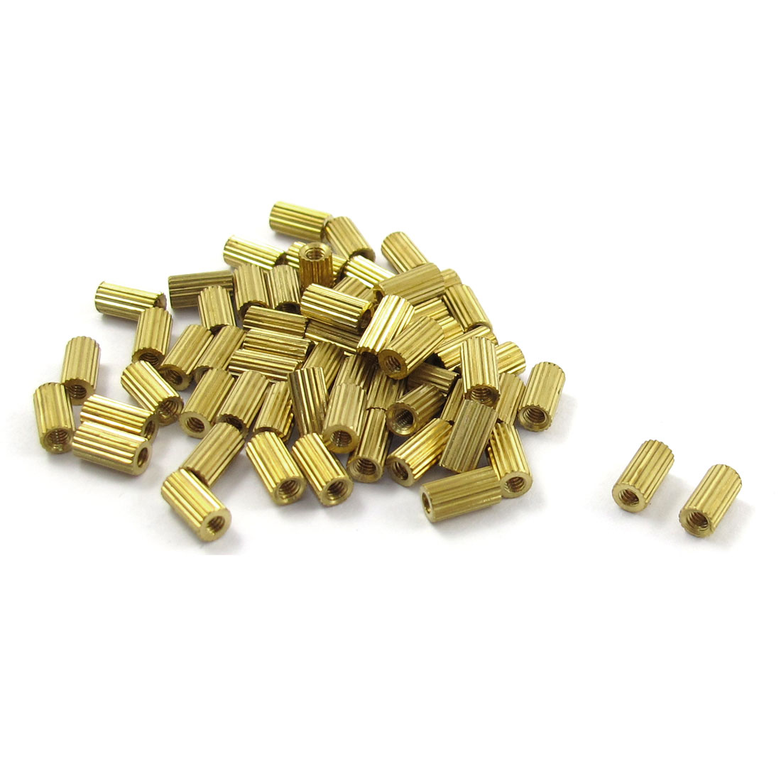 M2x6mm Cylinder Shaped Female Threaded Brass Standoff Spacer 50Pcs