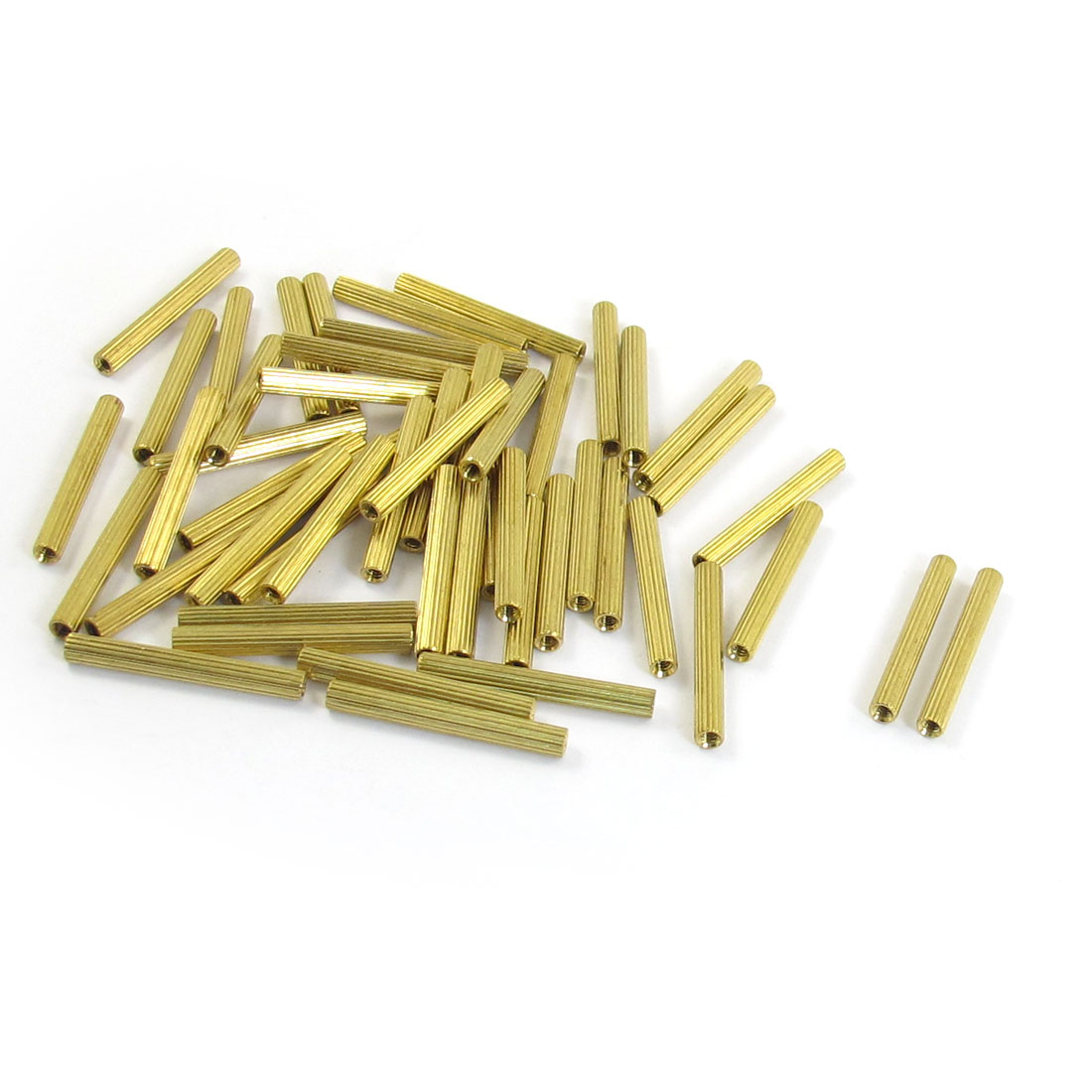 M2x25mm Cylinder Shaped Female Threaded Brass Standoff Spacer 50Pcs