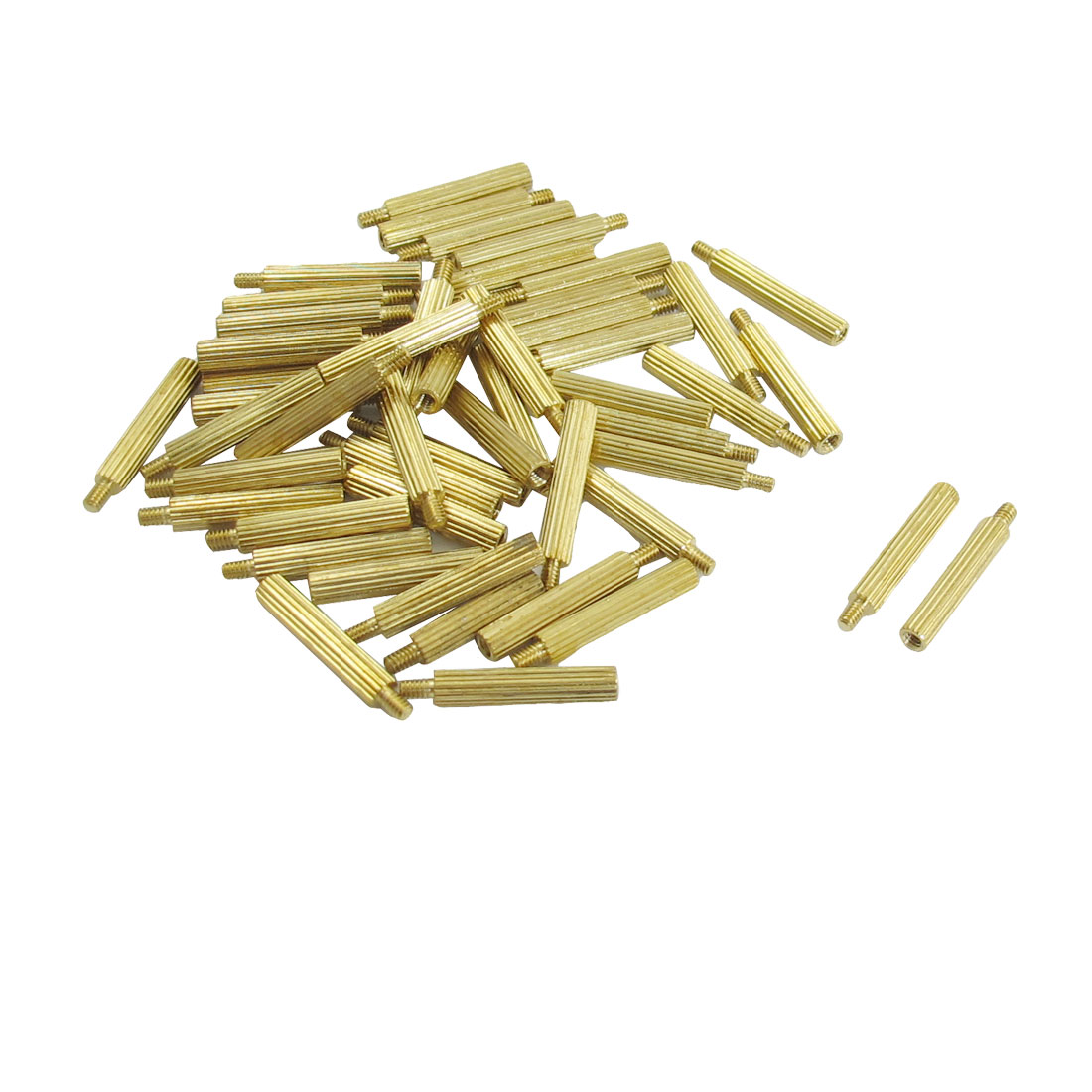 50 Pcs Male to Female Thread Brass Pillars Standoff Spacer M2x16mmx19mm