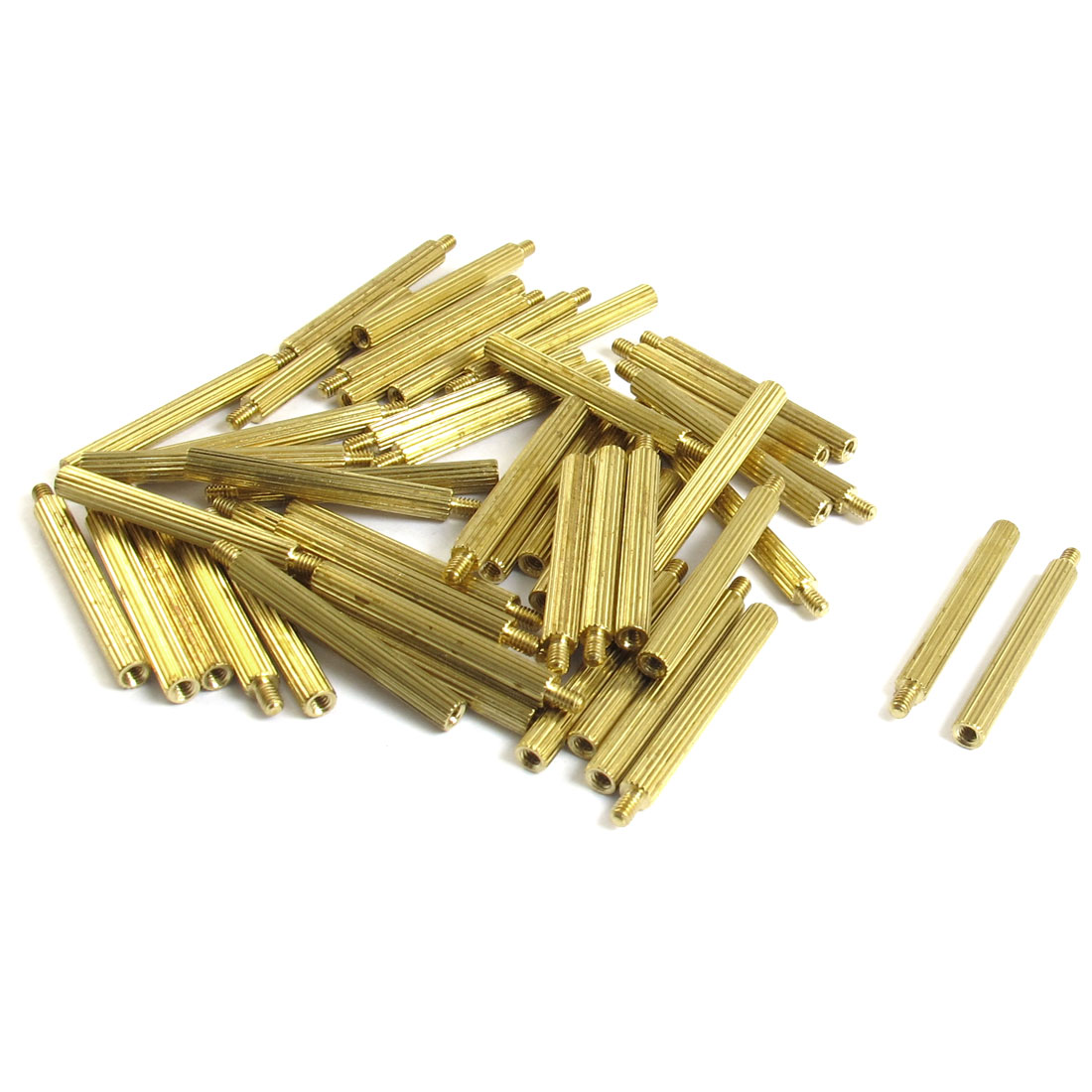 50 Pcs Male to Female Thread Brass Pillars Standoff Spacer M2x25mmx28mm