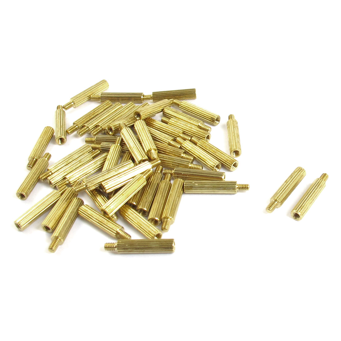 50 Pcs Male to Female Thread Brass Pillars Standoff Spacer M2x13mmx16mm