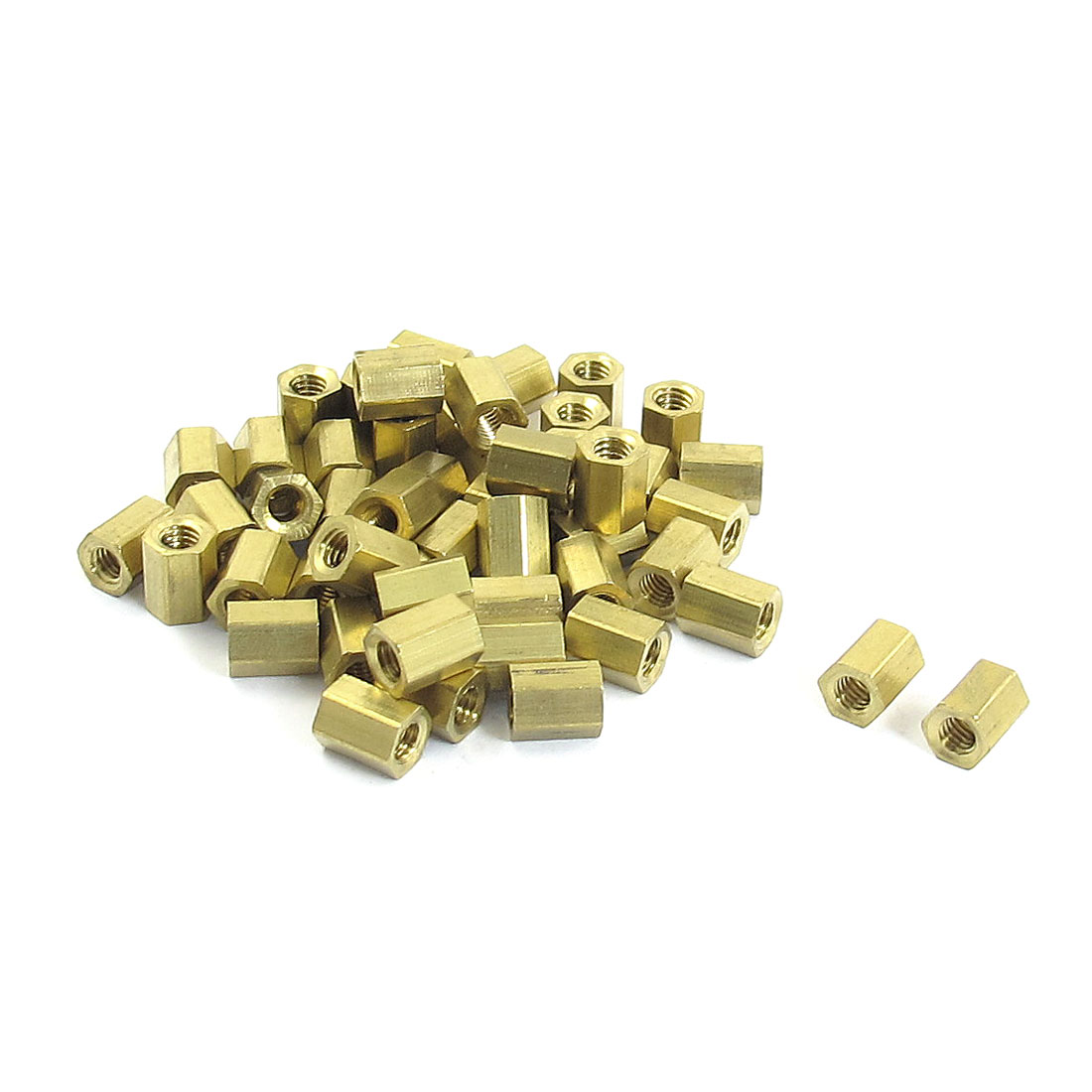 50 Pcs Female Threaded Hexagonal Brass Standoff Spacer Gold Tone M4x8mm