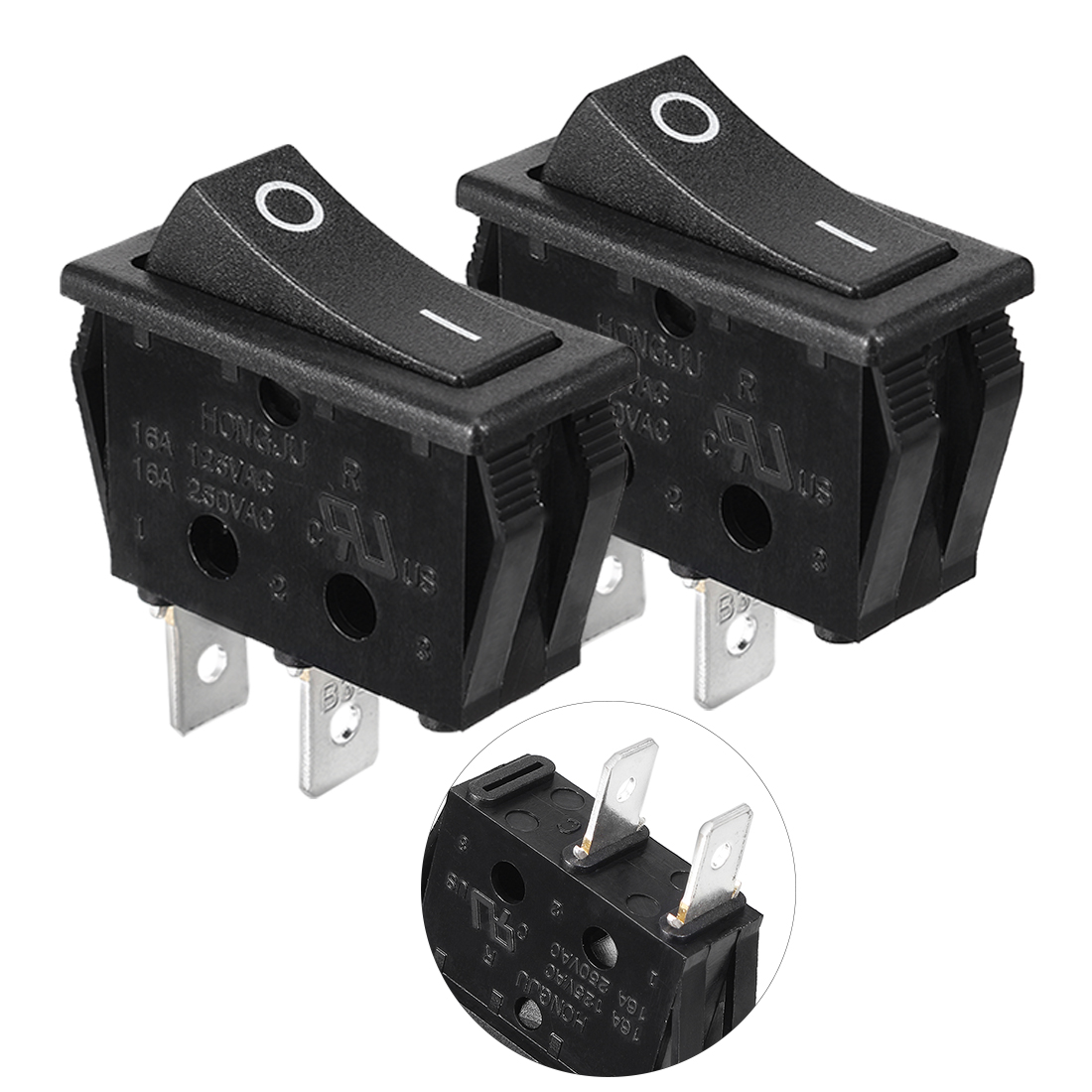 2 Pcs AC 16A/250V On/Off SPST Panel Mount Snap In Boat Rocker Switch UL Listed