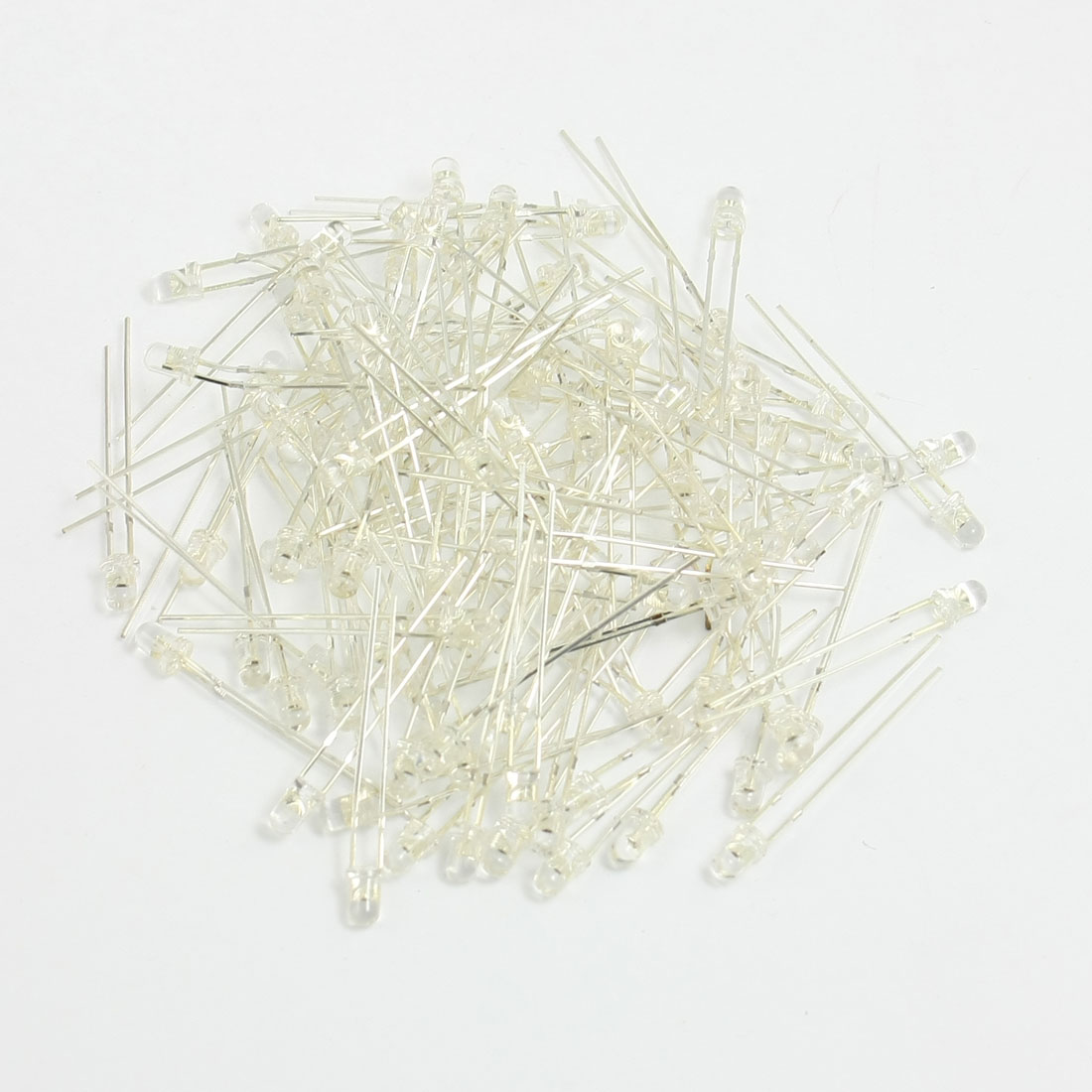 3mm Dia Clear Round Blue Emitting Diode 2 Terminals Light LED Lamp 100PCS