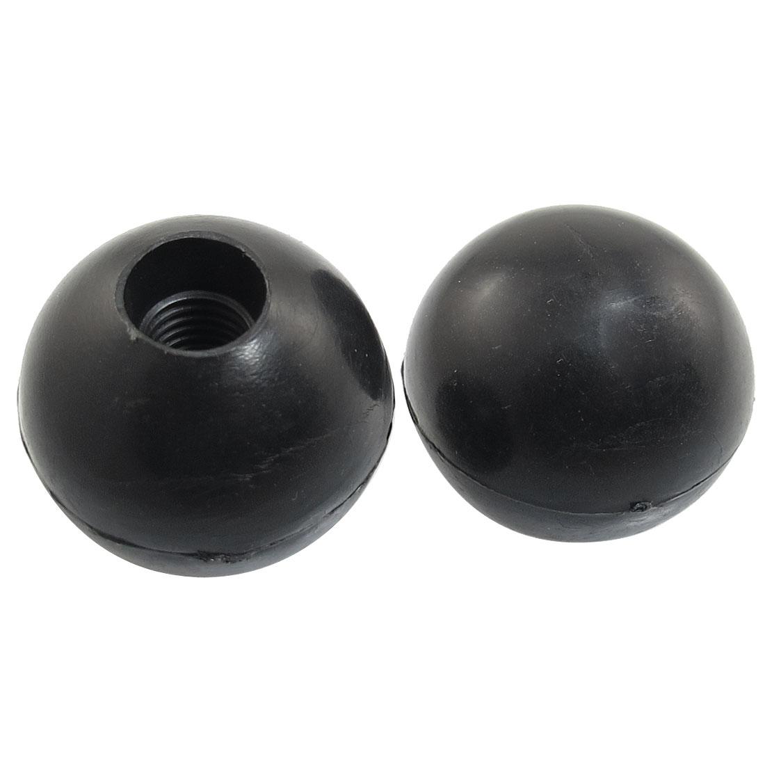 Black Plastic 10mm x 32mm Diameter Round Ball Handle Knob 2 Pcs