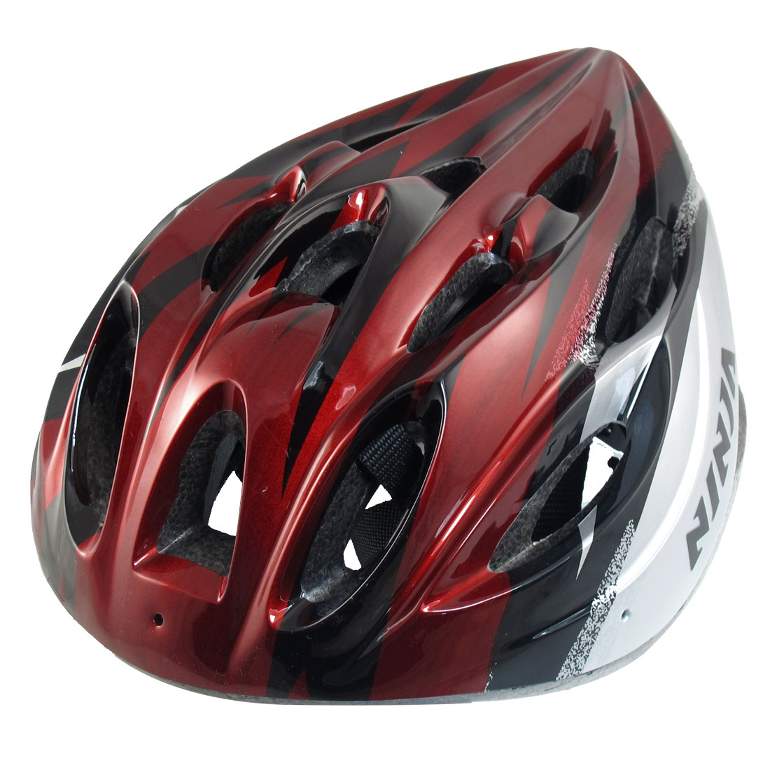 Women Men Skating Bicycle Bike Cycling Striped Helmet Black Red Silver Tone