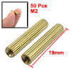 50 Pcs Female Threaded Pillars Brass Standoff Spacer Gold Tone M2x19mm
