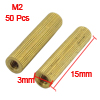 M2x15mm Cylinder Shaped Female Threaded Brass Standoff Spacer 50Pcs