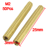 50 Pcs Female Threaded Pillars Brass Standoff Spacer Gold Tone M2x25mm