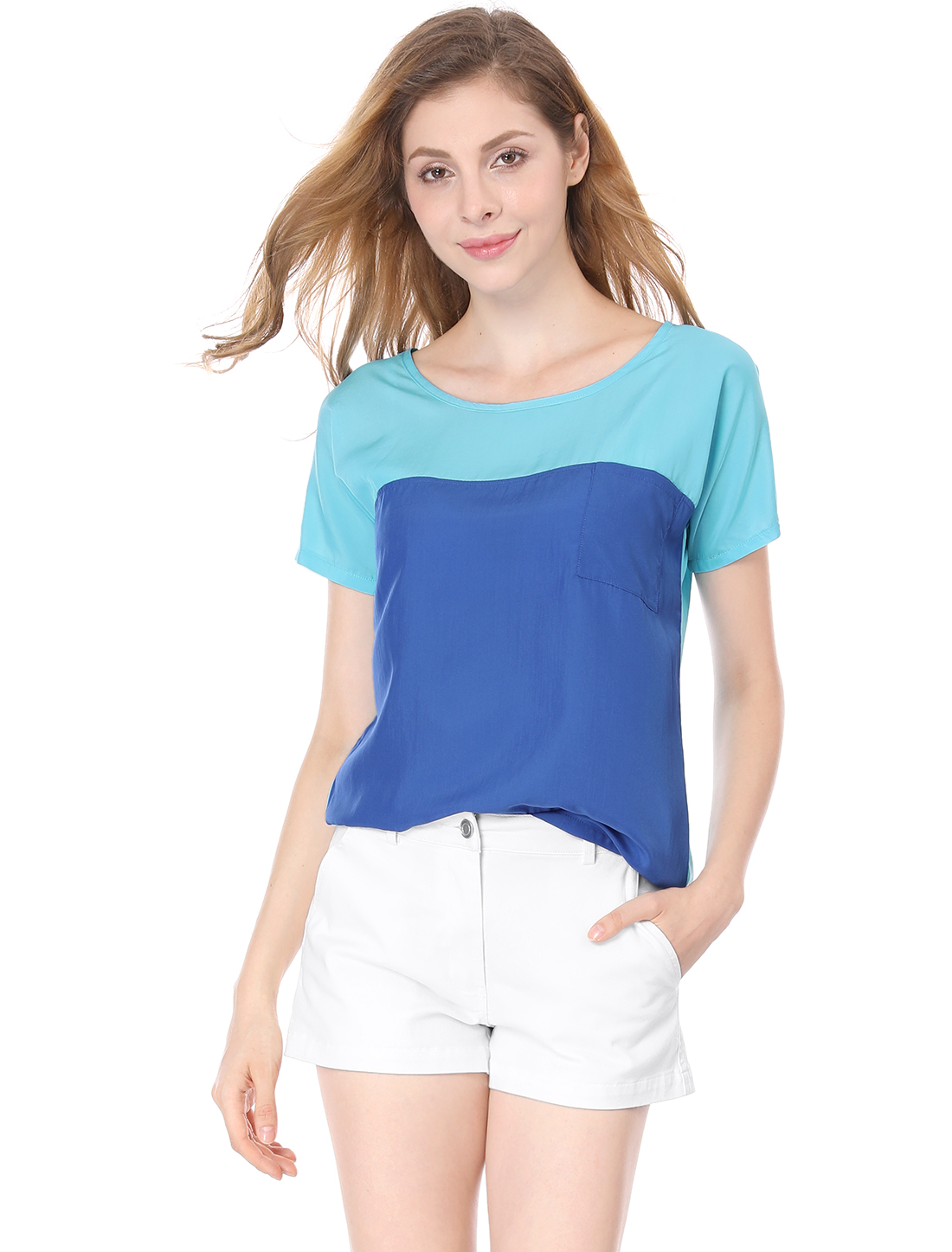 Women Blue Scoop Neck Short Sleeve Contrast Color One Pocket Chiffon Blouse L
