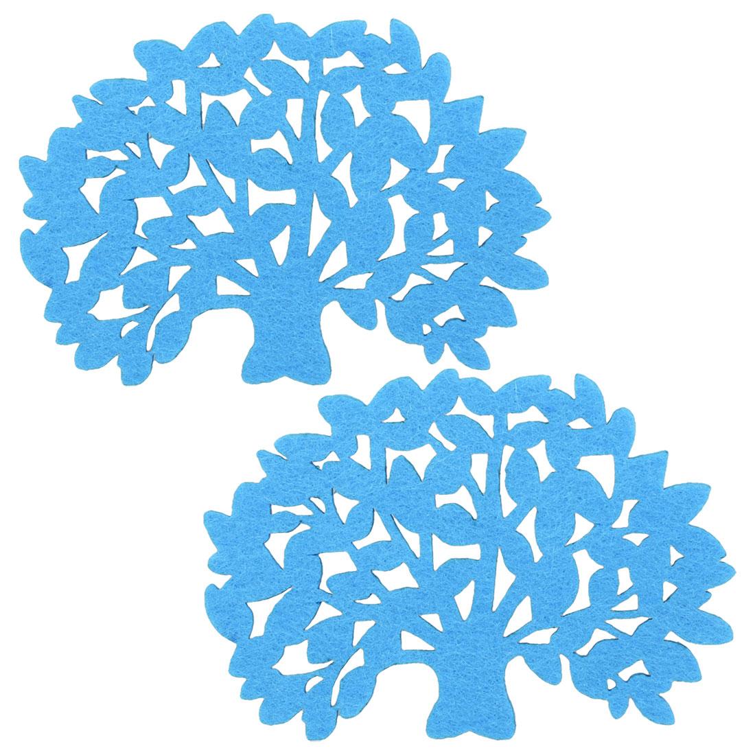 Kitchen Blue Tree Shaped Sponge Heat Insulation Cup Mug Pad Mat Coaster 2 Pcs
