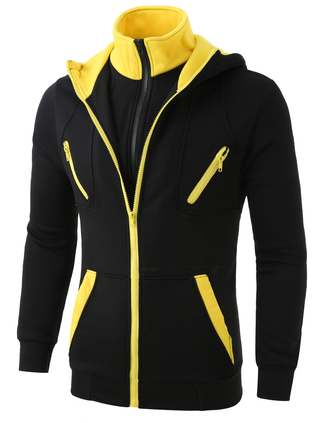 Mens Slim Fit Double Zipped Long Sleeve Stand Collar Fleece Hoodie Black Yellow M