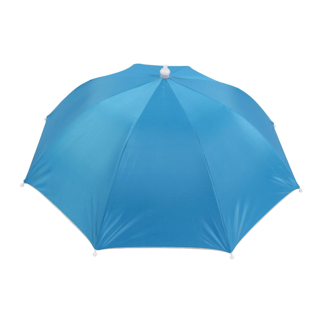 White Elastic Headband Sky Blue Polyester Canopy Umbrella Hat Cap for Fishing
