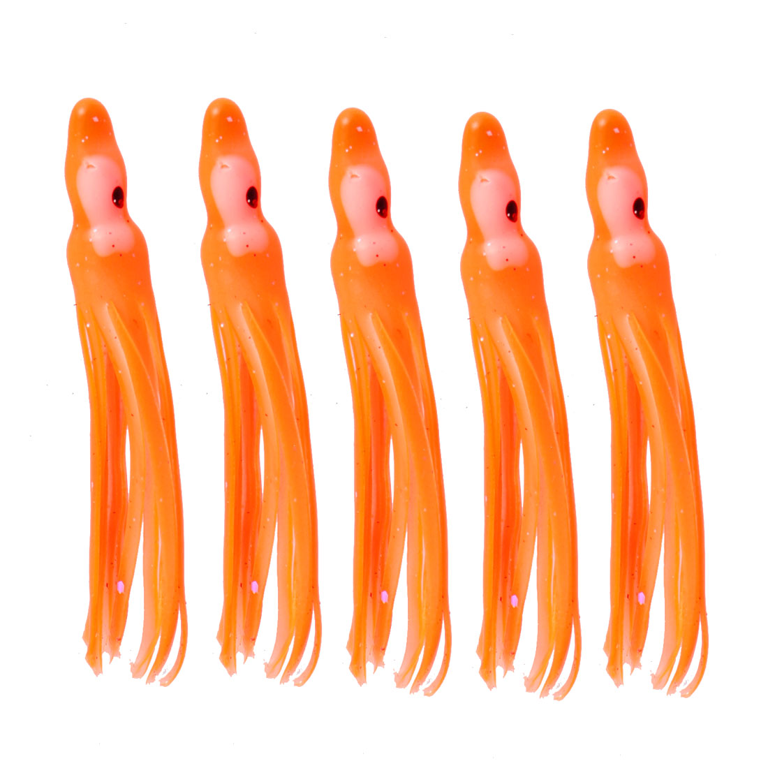 Fishing Orange Red Soft Plastic Squid Skirt Lure Bait 5 Pcs