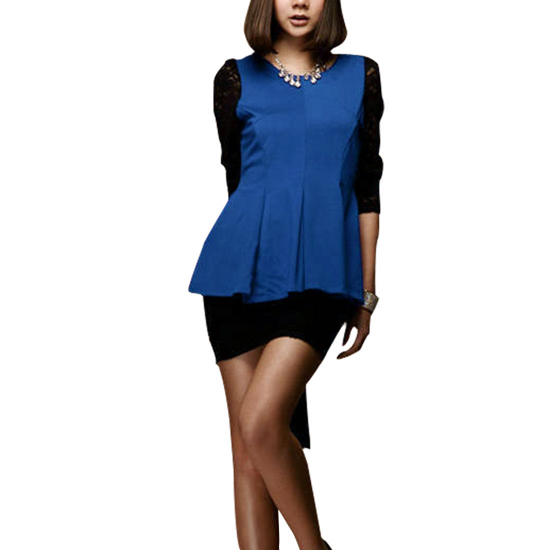Lady Panel Lace Back Zipper Round Neck Fashion Tops Blouses Blue XS
