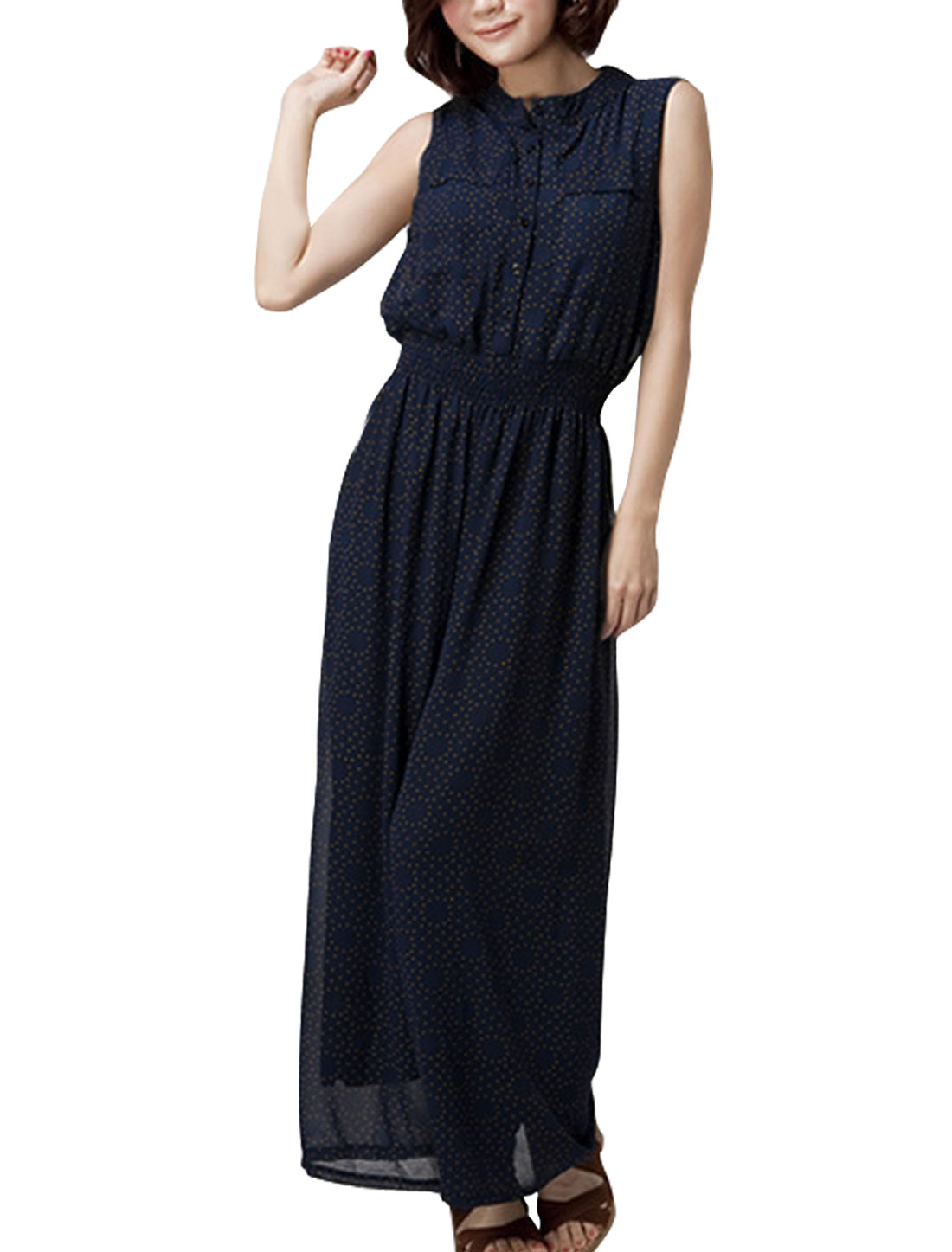 Ladies Dots Round Neck Chiffon Stretchy Autumn Jumpsuit Blue XS