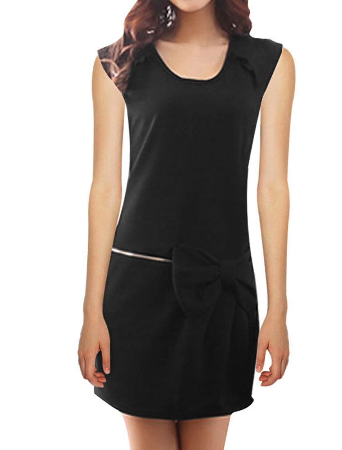 Ladies Metal Zipper Bowknots Sleeveless Slim Fashion Dress Black S