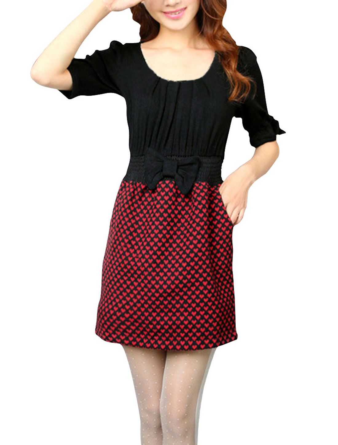 Ladies Red Black Scoop Neck Hearts Pattern Elastic Waist Casual Dress Xs