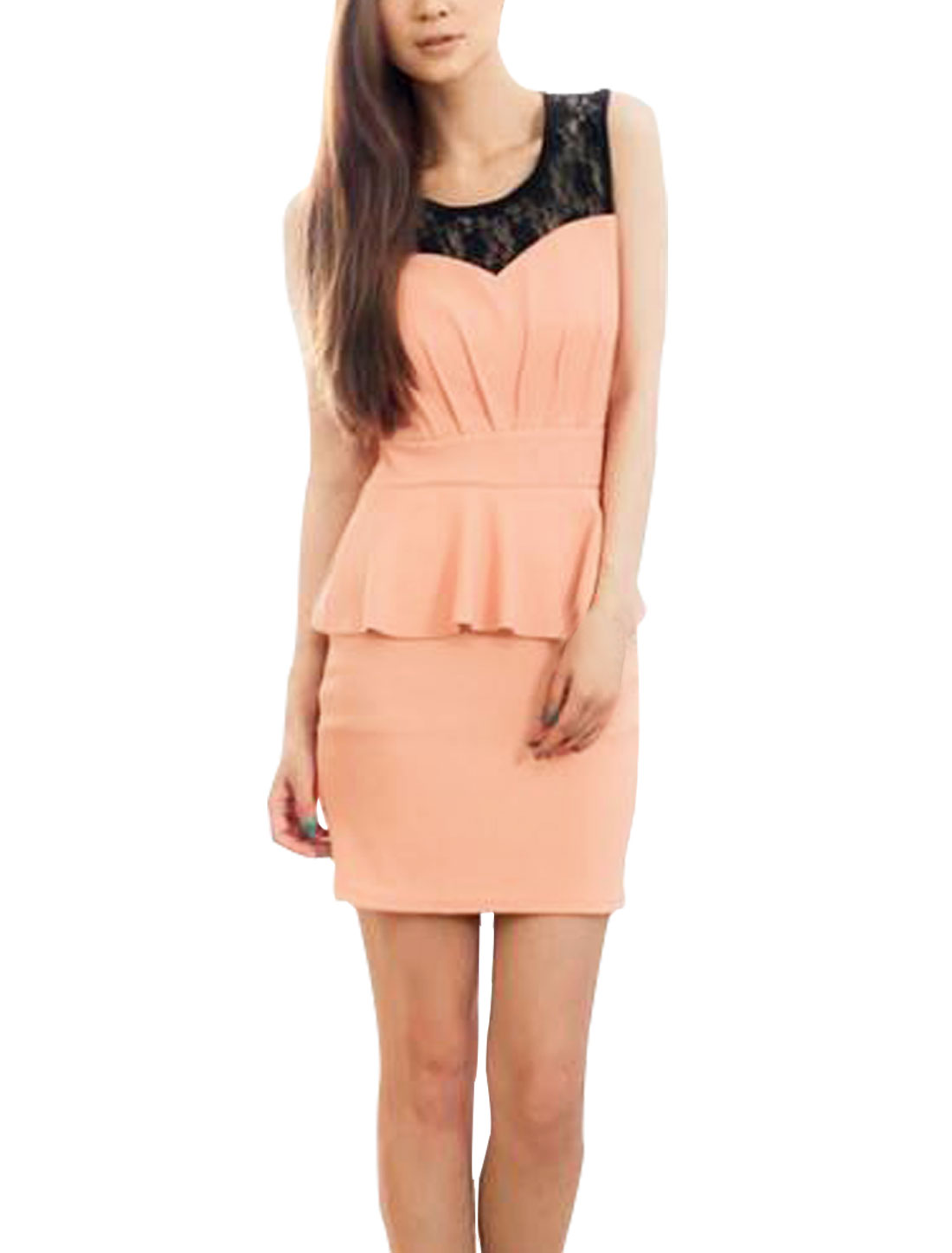 Above Knee Round Neck Chiffon Fashion Chic Dress For Ladies Pink XS
