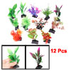 Fish Tank Aquarium Green Red Purple Plastic Grass Plant Ornament 12 Pcs
