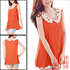 Ladies Watermelon Red Sleeveless Scalloped Trim Semi Sheer Tank Top S
