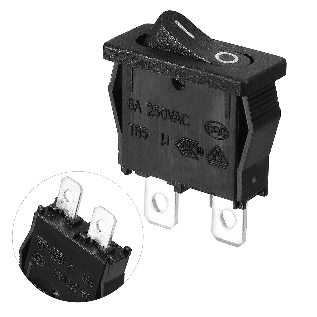 AC 250V 6A 10A 125V 2 Wire Lead SPST On / Off Mini Snap In Boat Rocker Switch