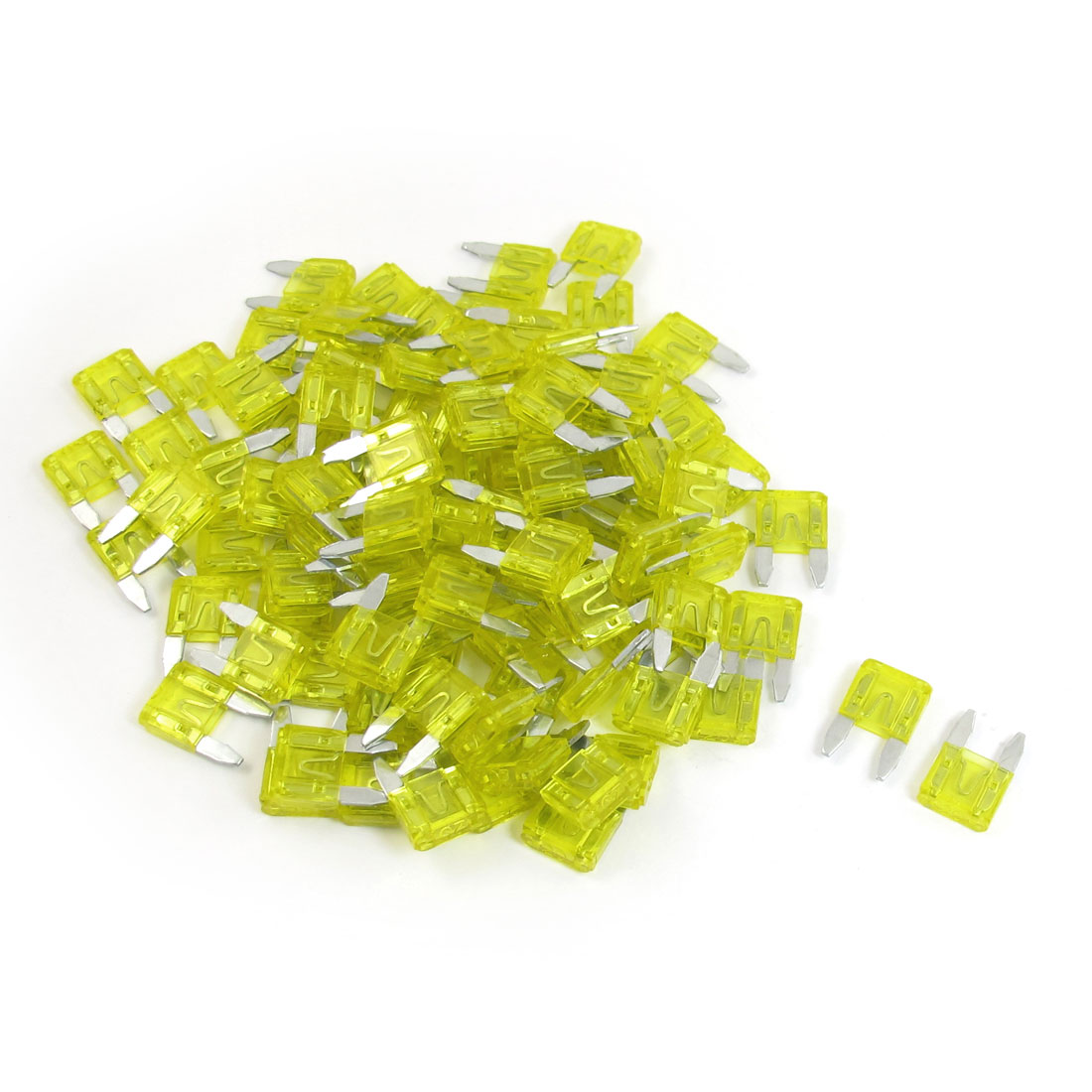 100 Pcs Plastic Housing 20A Vehicle Car Auto Blade Fuses Yellow