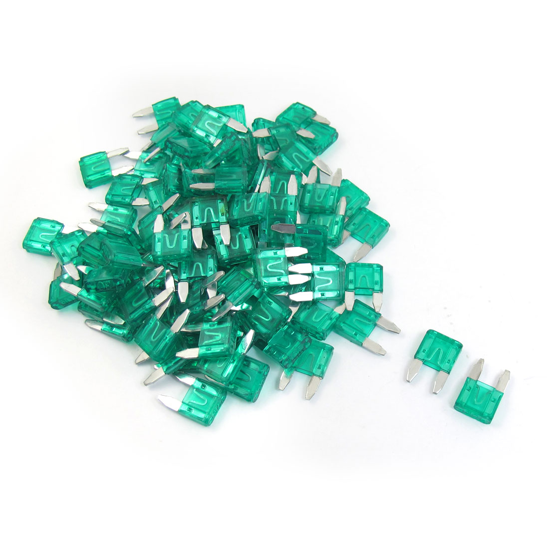 100 Pcs Plastic Housing 30A Vehicle Car Auto Blade Fuses Green